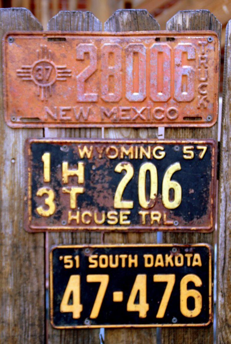 Vintage American state license plates