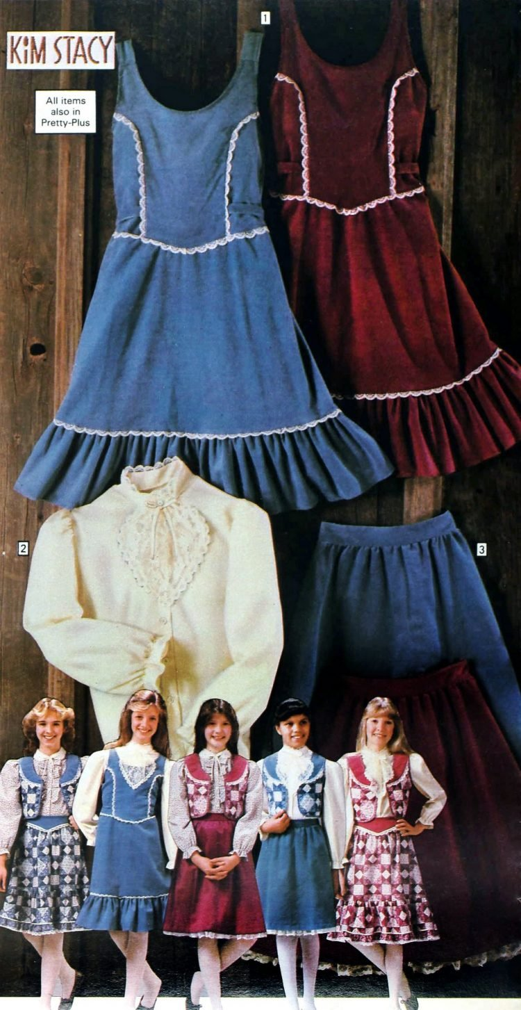 Vintage Americana fashions for girls from Sears 1983 - prairie dresses