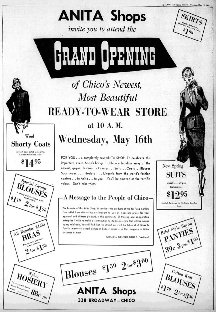 Vintage Anita Shops grand opening in Chico - 1951