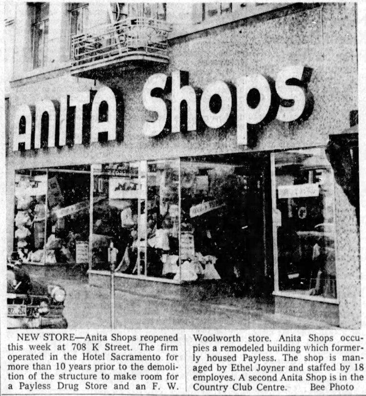 Vintage Anita Shops in Sacramento 1958