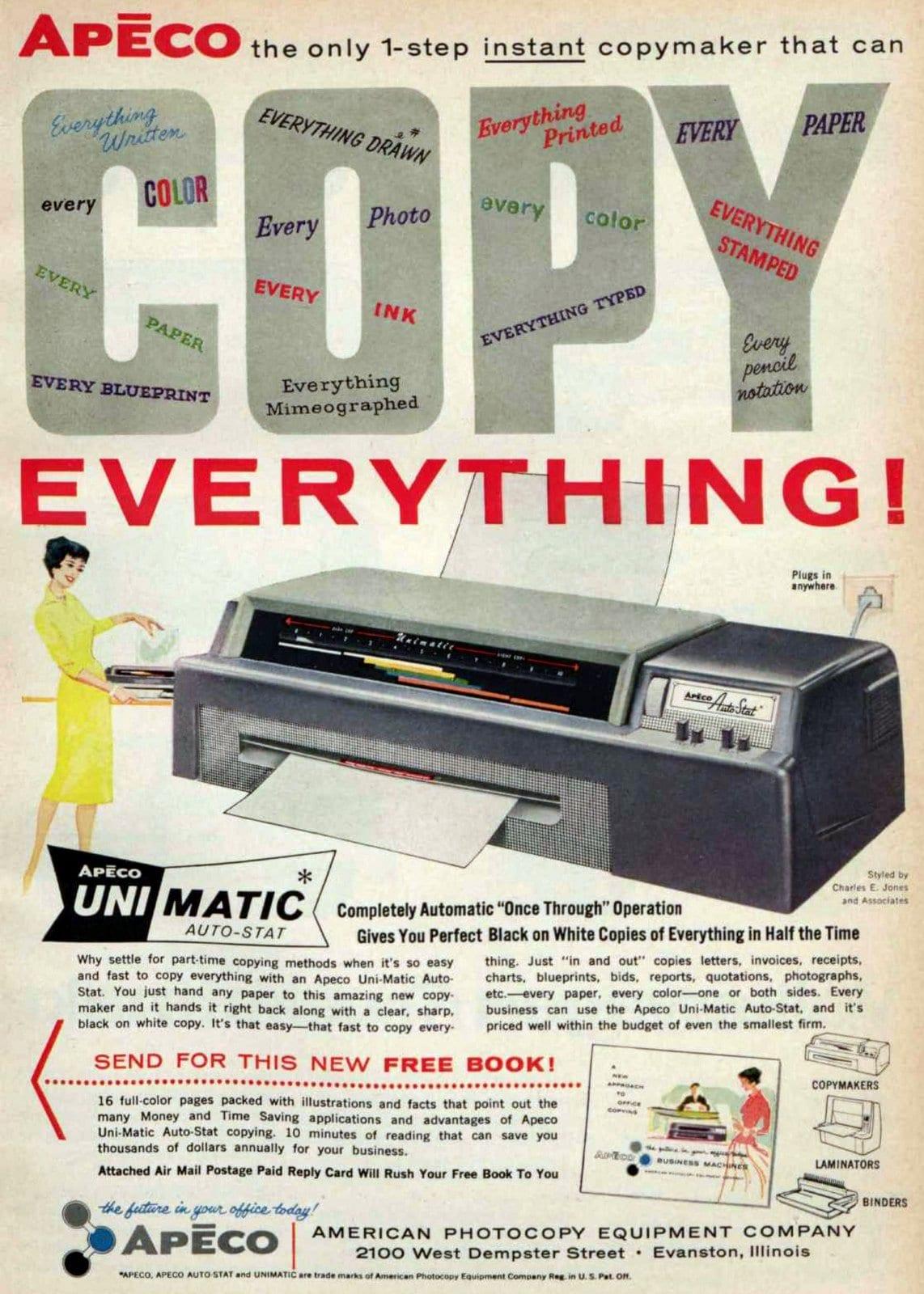 Vintage Apeco UniMatic Auto-Stat copying machine (1960)