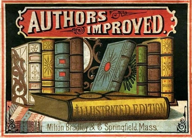 Vintage Authors Improved board game from Milton Bradley - Antique