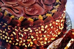 Vintage Baker's Chocolate Decadence cake with almonds