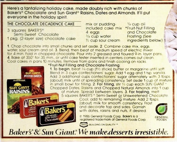 Vintage Baker's Chocolate Decadence cake with almonds - Recipe card from 1986