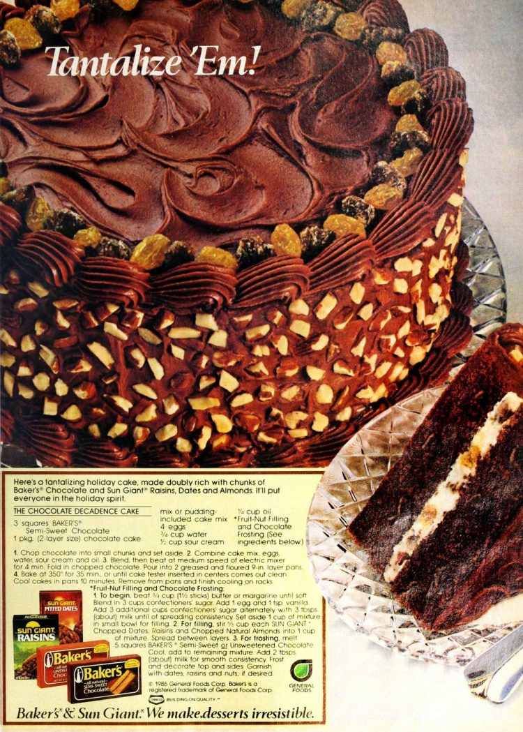 Vintage Baker's Chocolate Decadence cake with almonds - Recipe from 1986