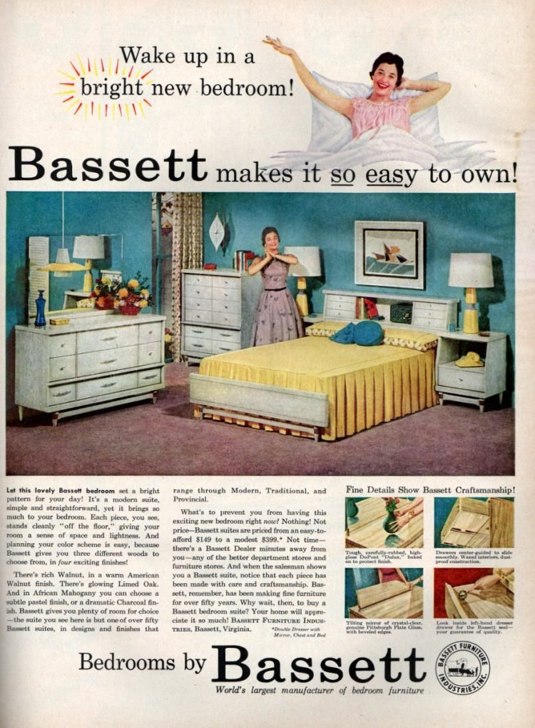Vintage Bassett bedroom furniture from 1956