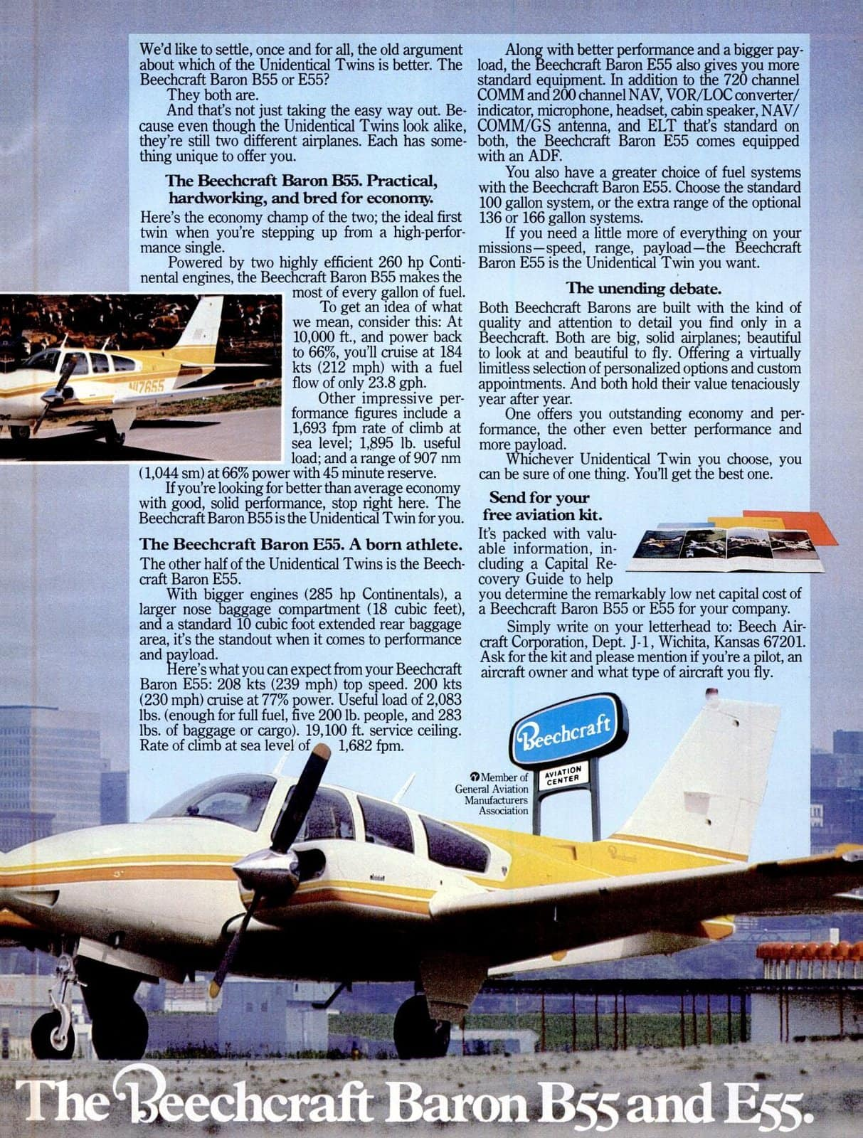 Vintage Beechcraft Baron B55 and E55 propeller planes (2)
