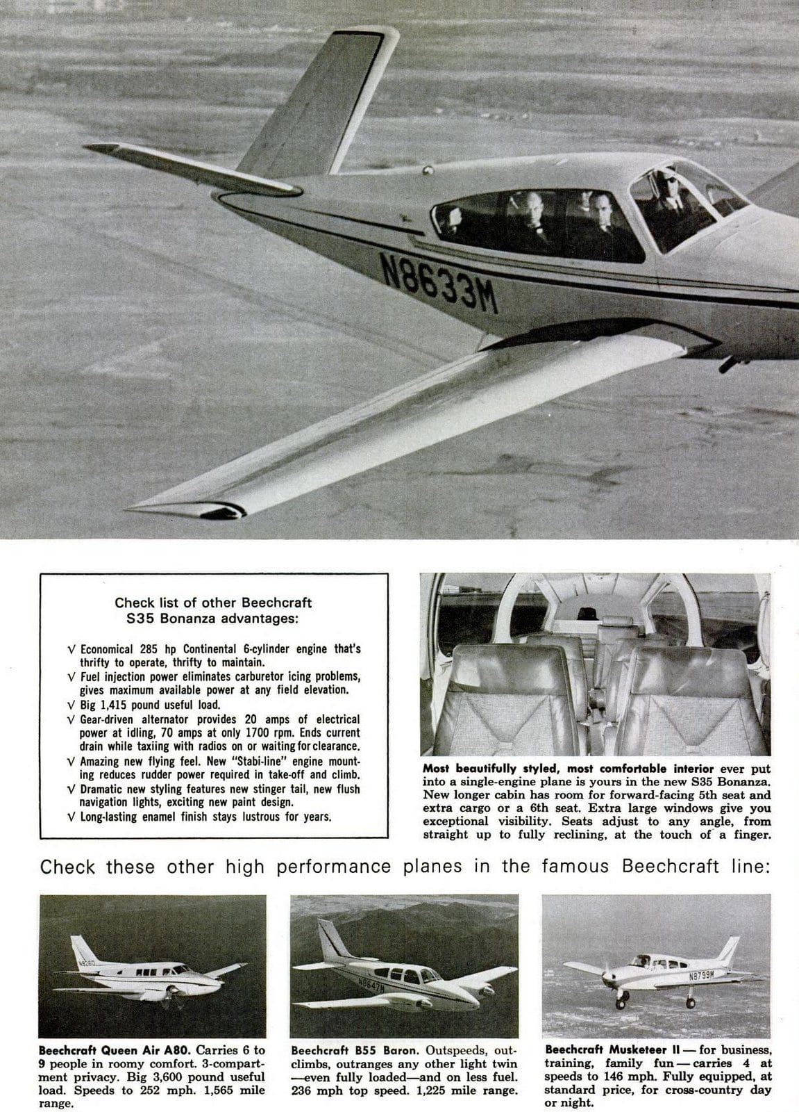 Vintage Beechcraft S-35 aircraft from 1965 (2)