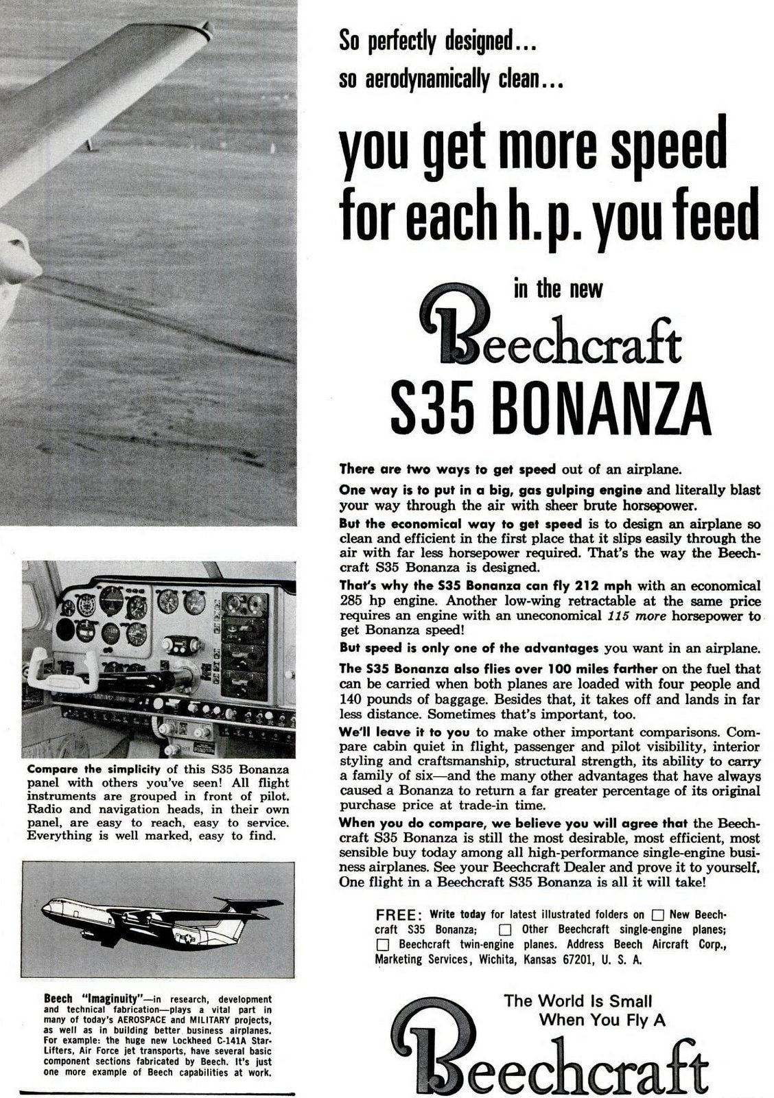 Vintage Beechcraft S-35 aircraft from 1965