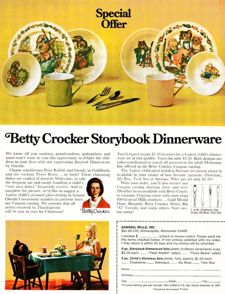 Vintage Betty Crocker Storybook dinnerware sets from 1970