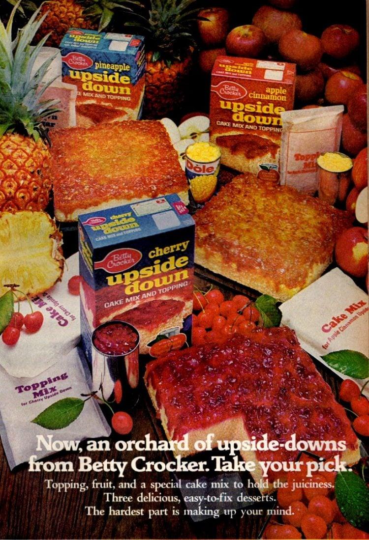 Vintage Betty Crocker Upside Down cake mixes 1971