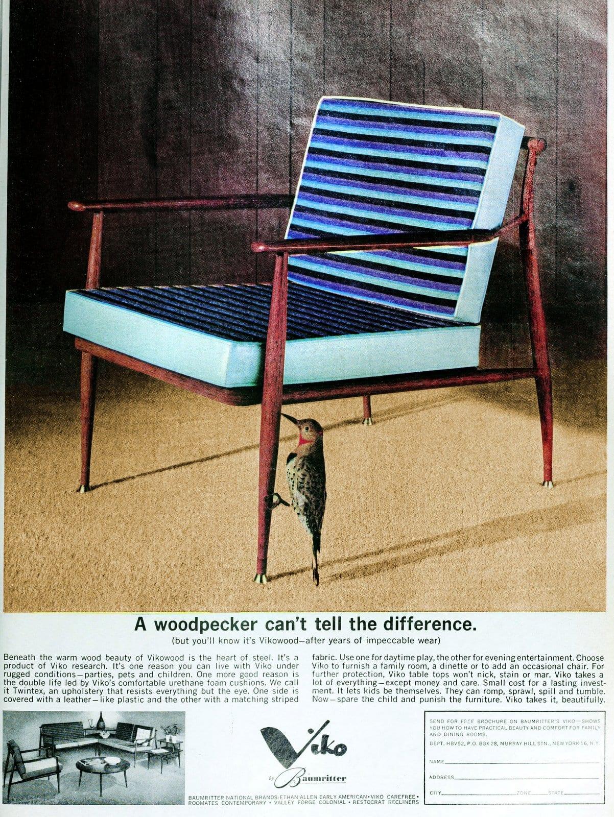 Vintage Blue striped mod Viko chair (1962)