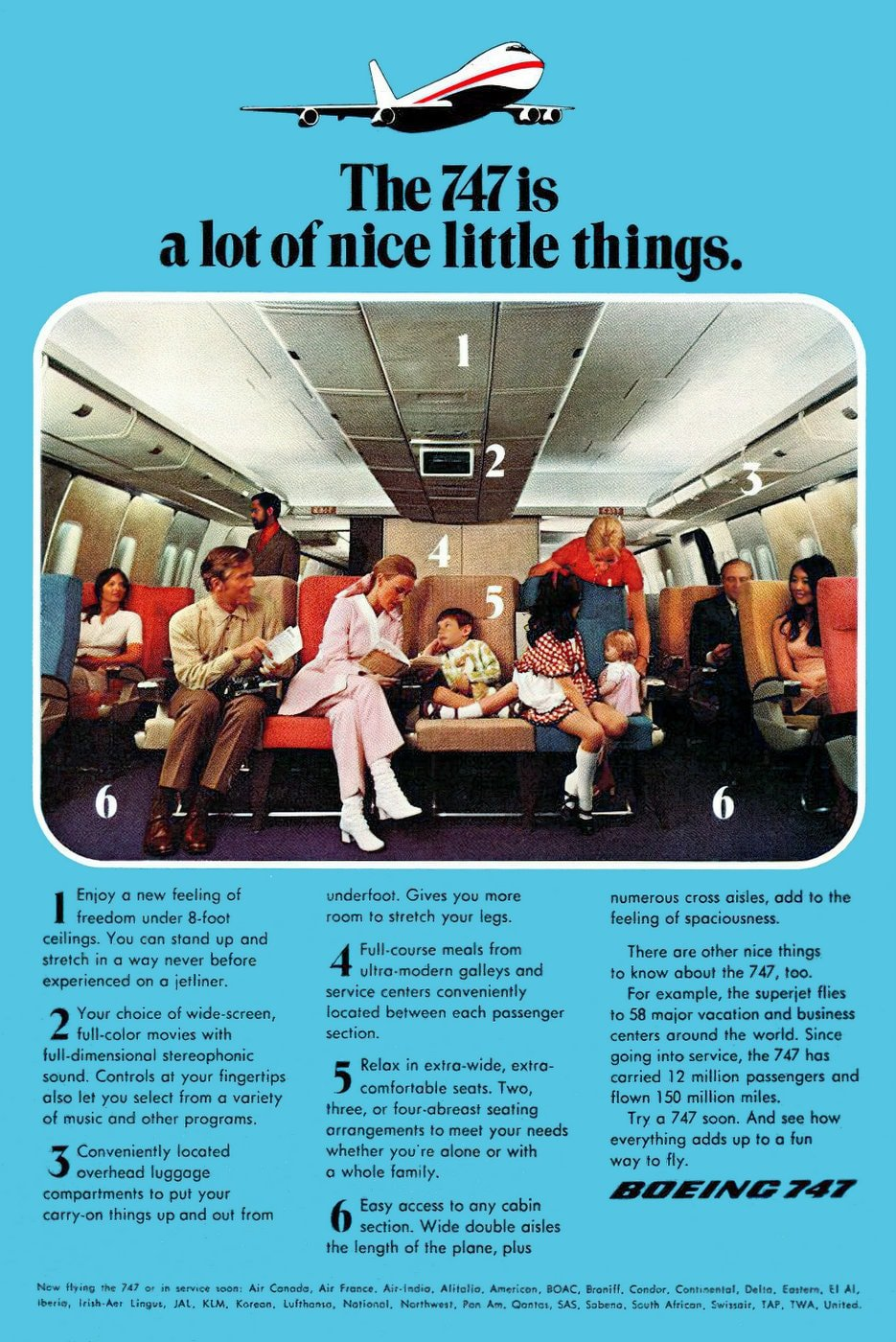 Vintage Boeing 747 airplane - A lot of nice little things (1971)