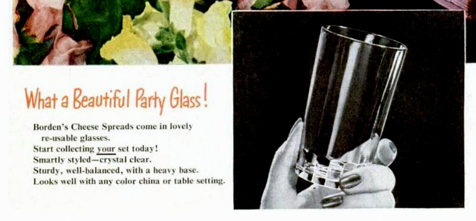 Vintage Borden cheese party glasses 1951