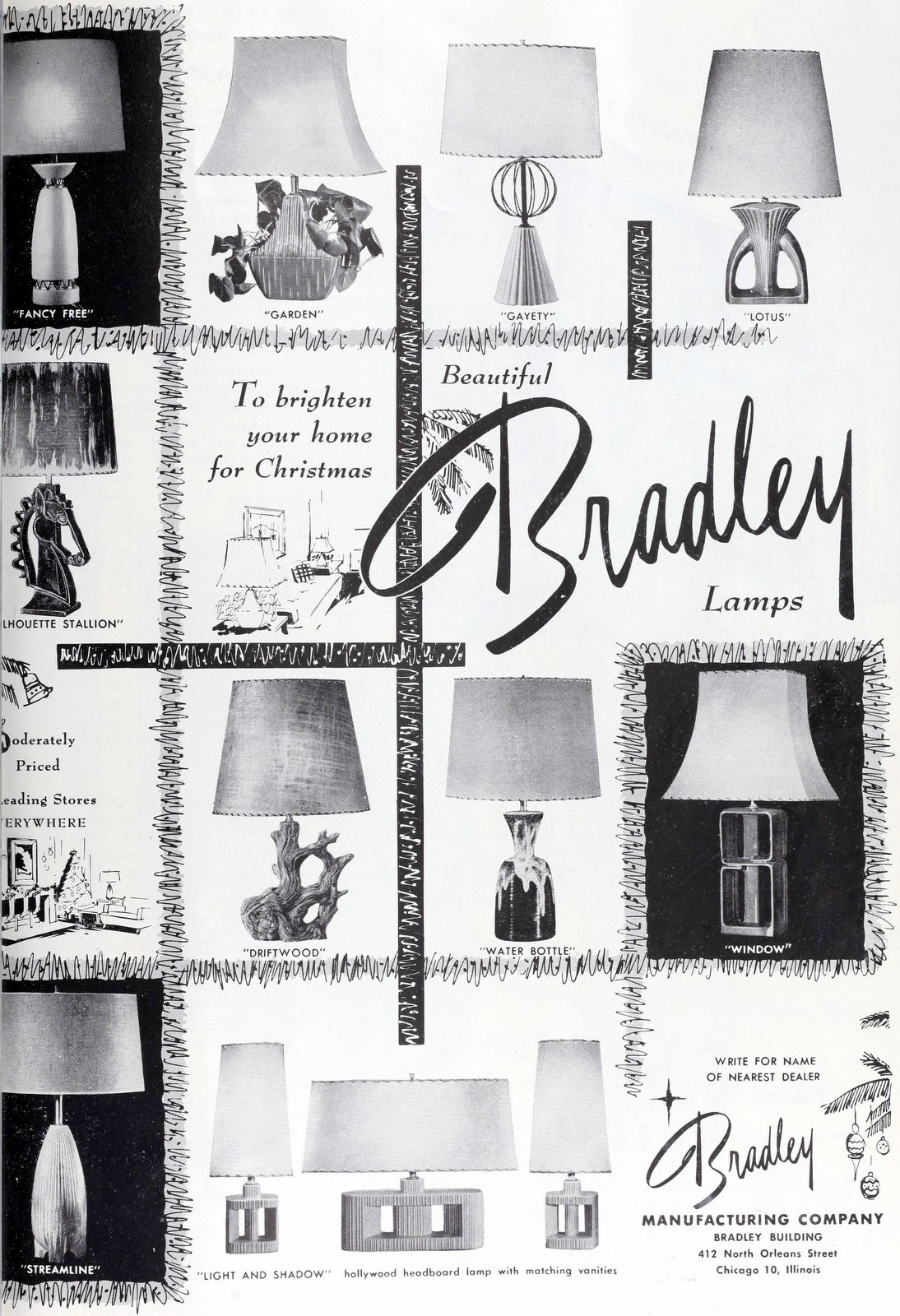 Vintage Bradley lamps and lampshades (1953)
