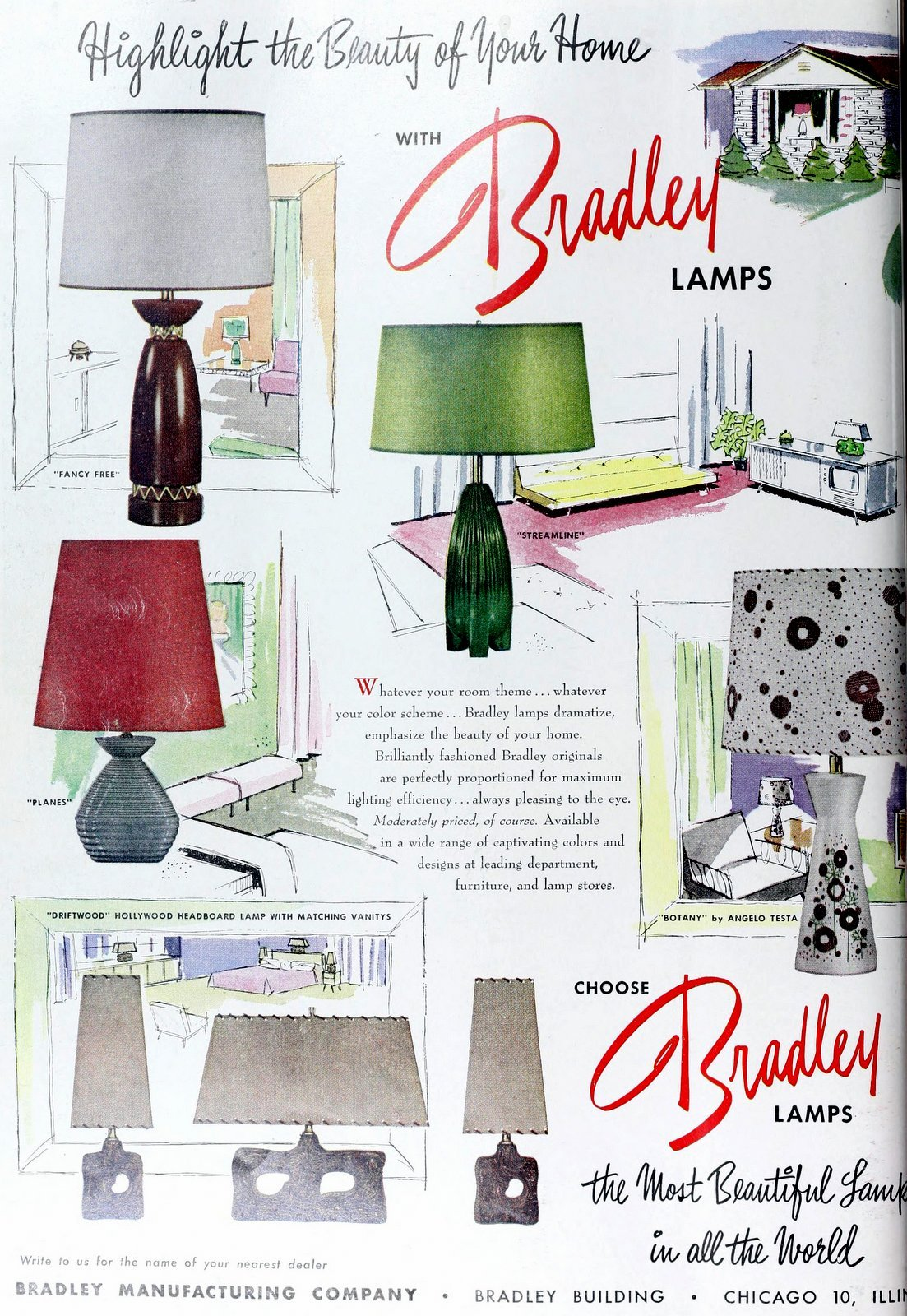 Vintage Bradley lamps for the home (1953)