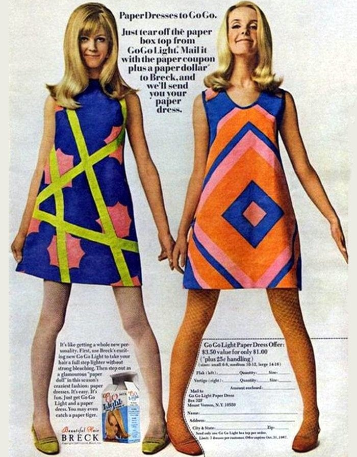 Vintage Breck Paper Dresses to GoGo 1967