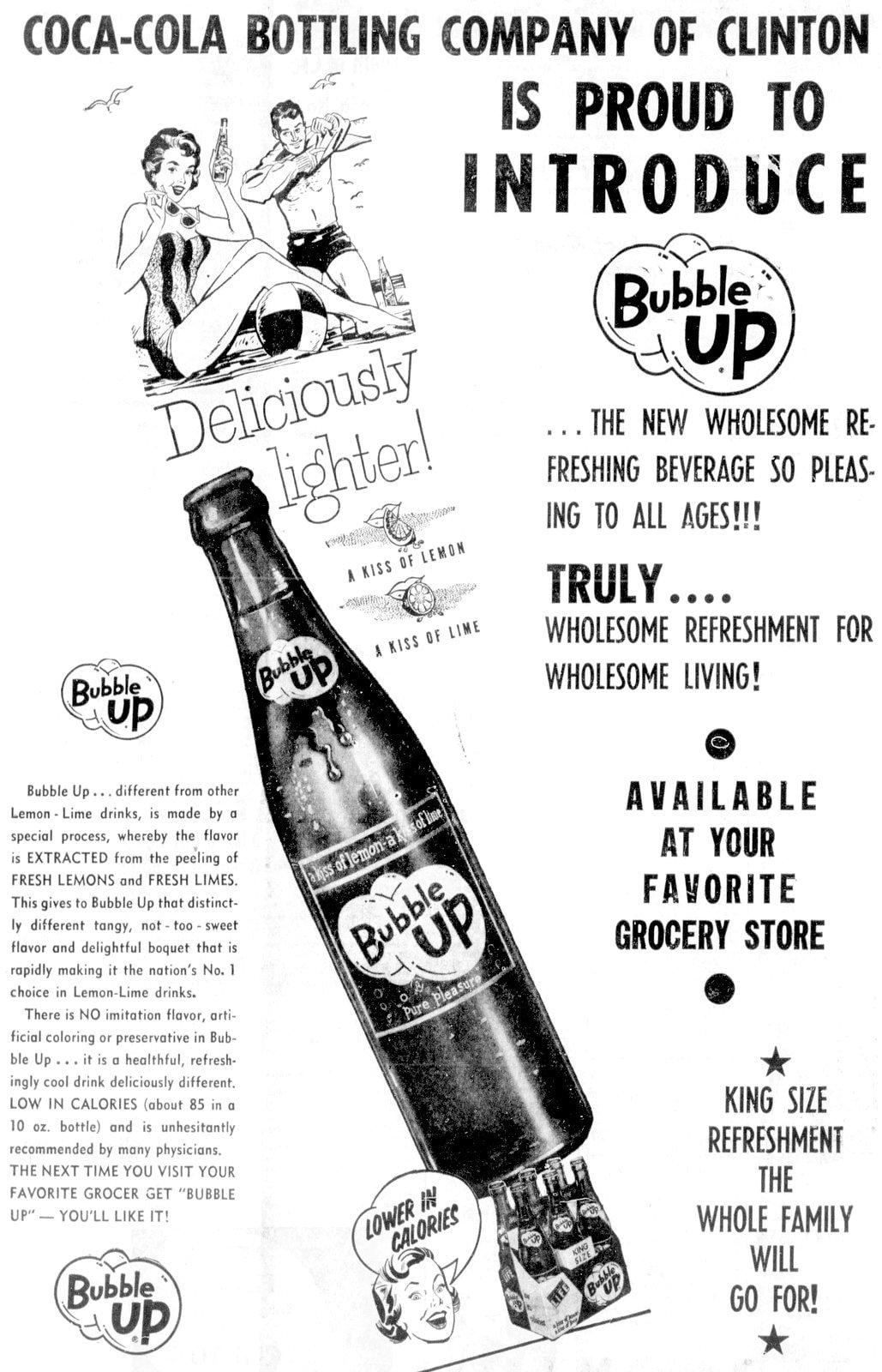 Vintage Bubble Up lemon-lime soft drink (1959)
