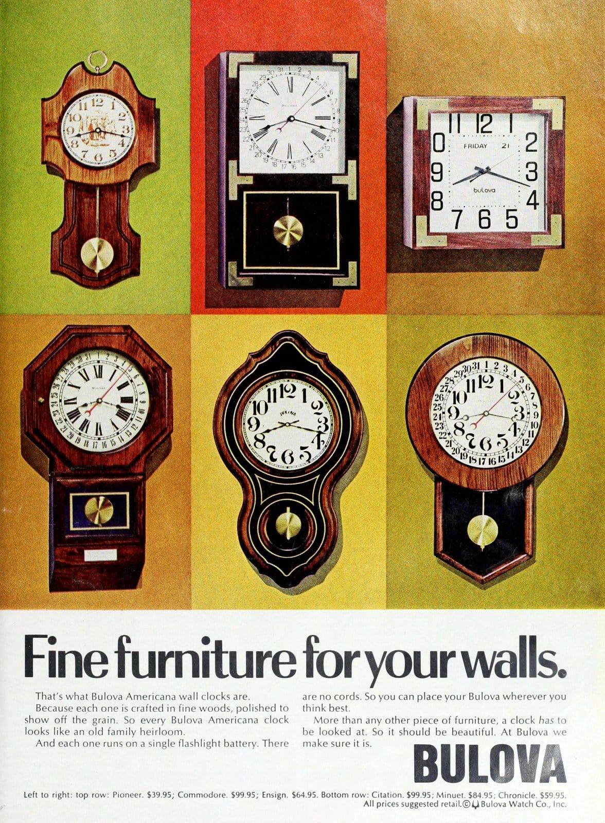 Vintage Bulova wall clocks (1976)
