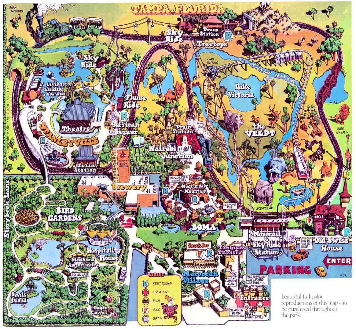Vintage Busch Gardens park map 1975