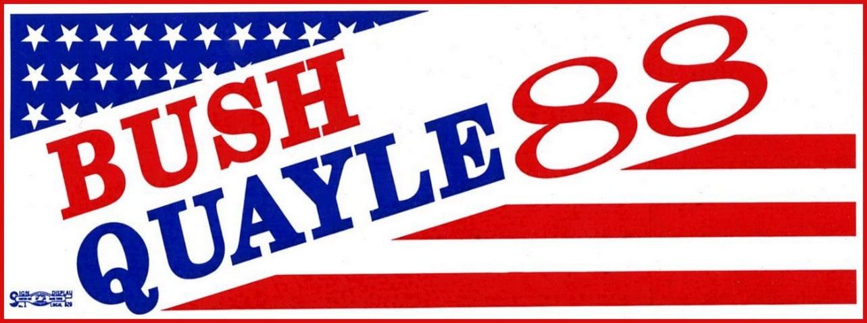 Vintage Bush-Quayle 88 political bumper sticker