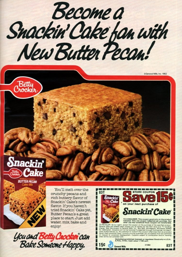 Vintage Butter Pecan Snackin Cake box mix from 1982