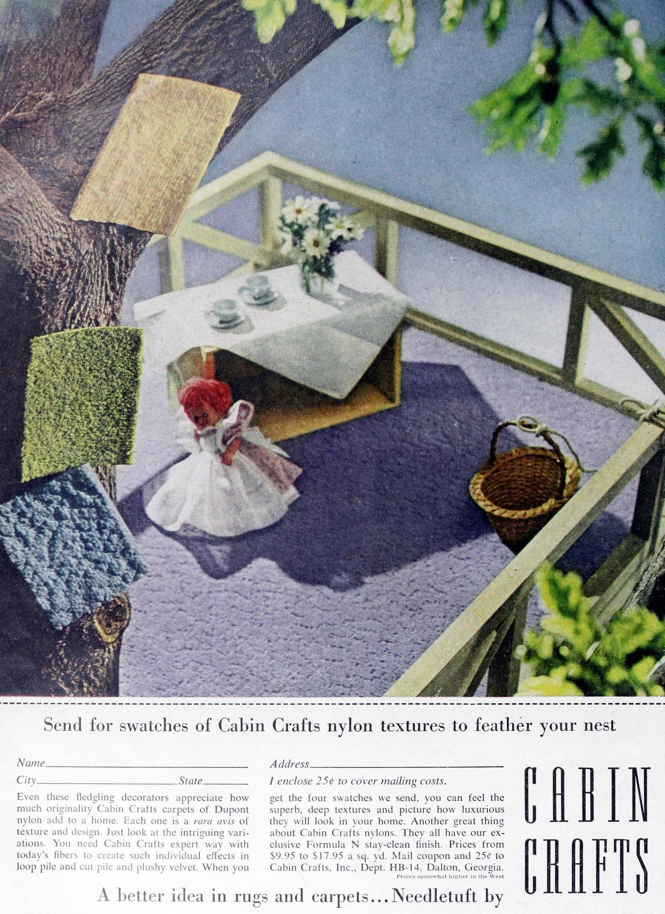 Vintage Cabin Crafts sculpted and textured carpeting (1960)