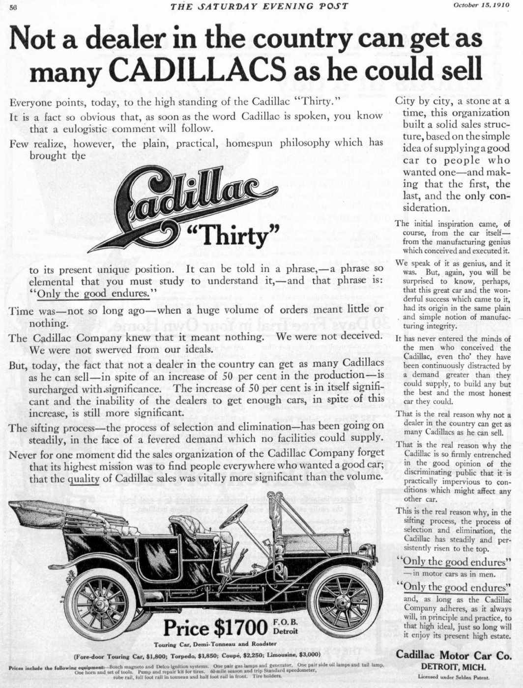 Vintage Cadillac car ad from 1910 1911