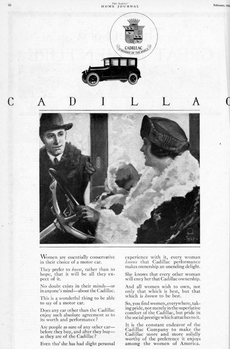 Vintage Cadillac car ad from 1920s