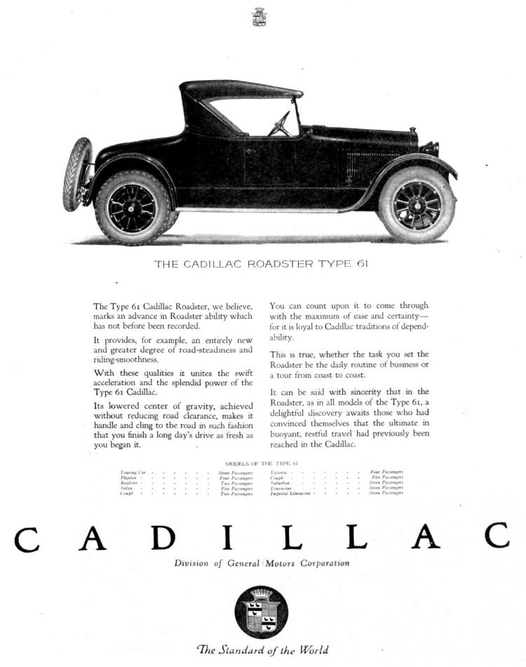 Vintage Cadillac car ad from 1921 1922