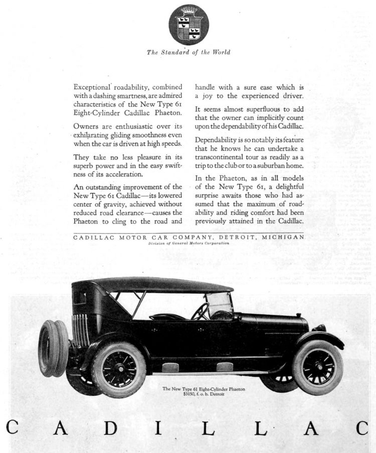 Vintage Cadillac car ad from 1922