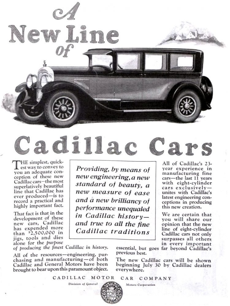 Vintage Cadillac car ad from 1925 1926