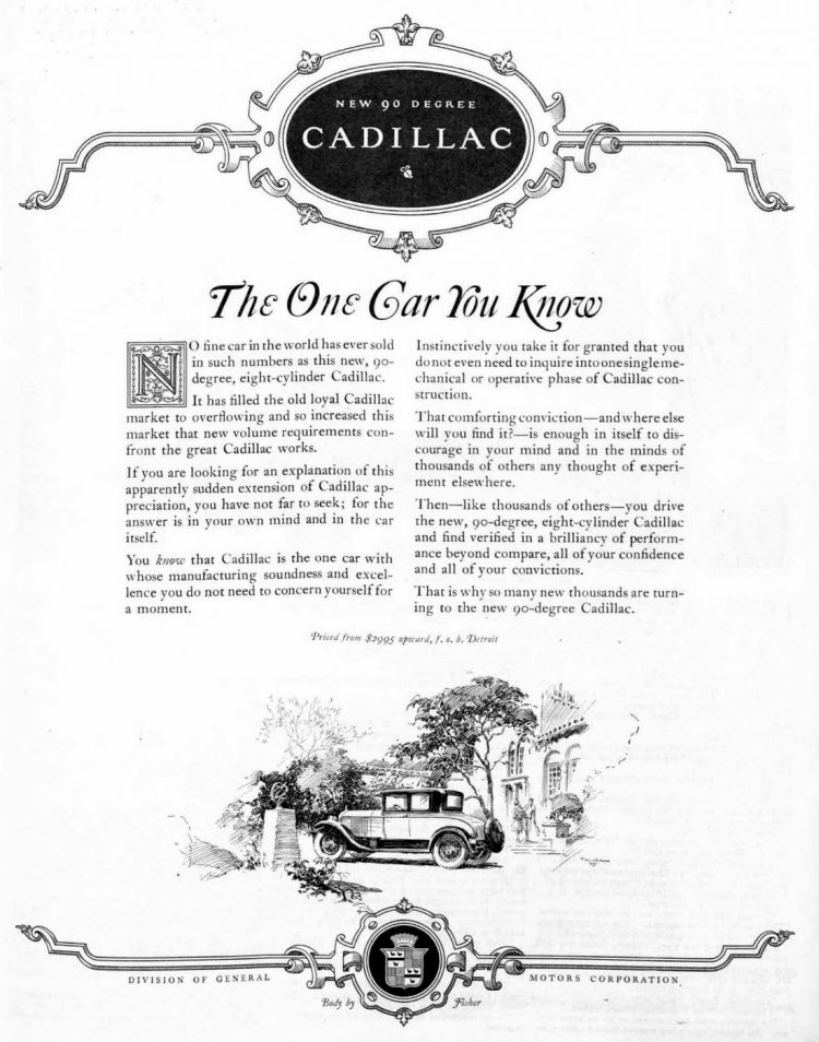 Vintage Cadillac car ad from 1926