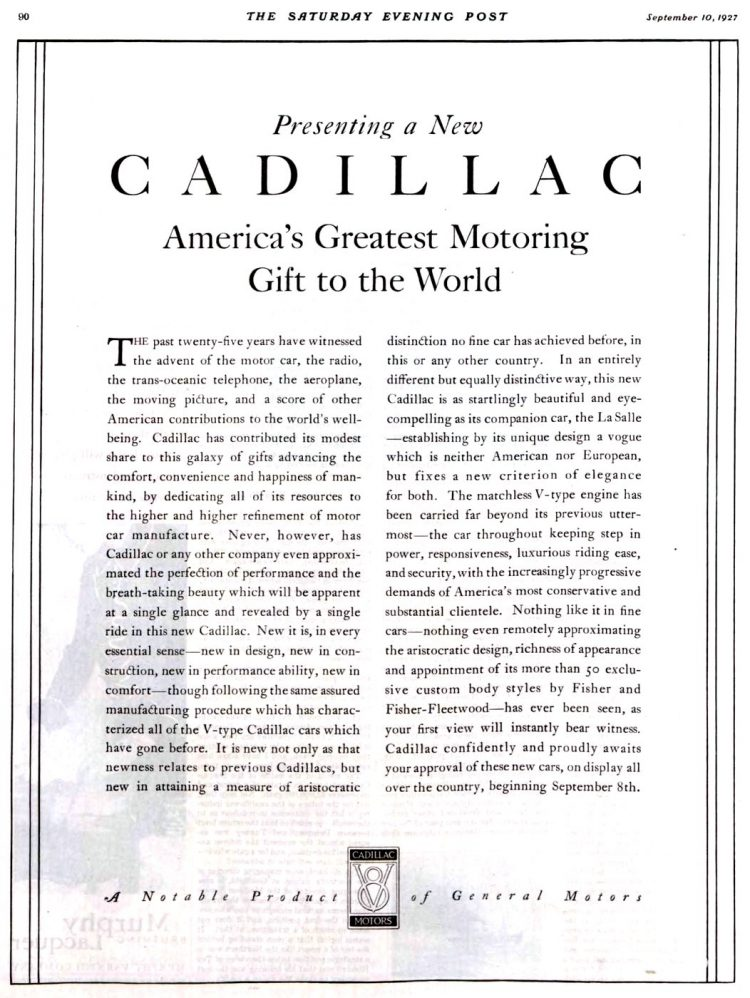 Vintage Cadillac car ad from 1927-1928 (1)