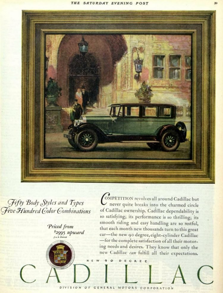 Vintage Cadillac car ad from 1927