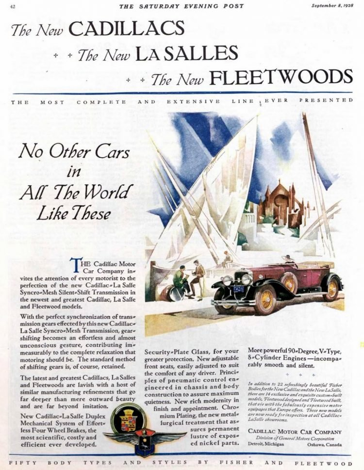 Vintage Cadillac car ad from 1928 1929