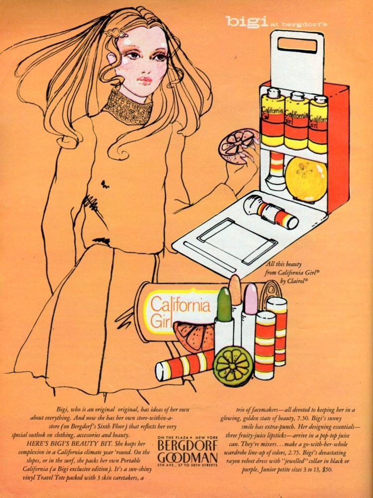 Vintage California Girl cosmetic gift sets from 1968