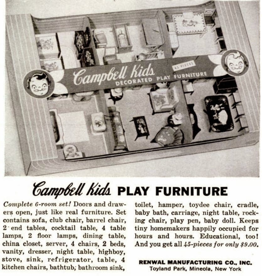 Vintage Campbell Kids 1950s Dollhouse play furniture