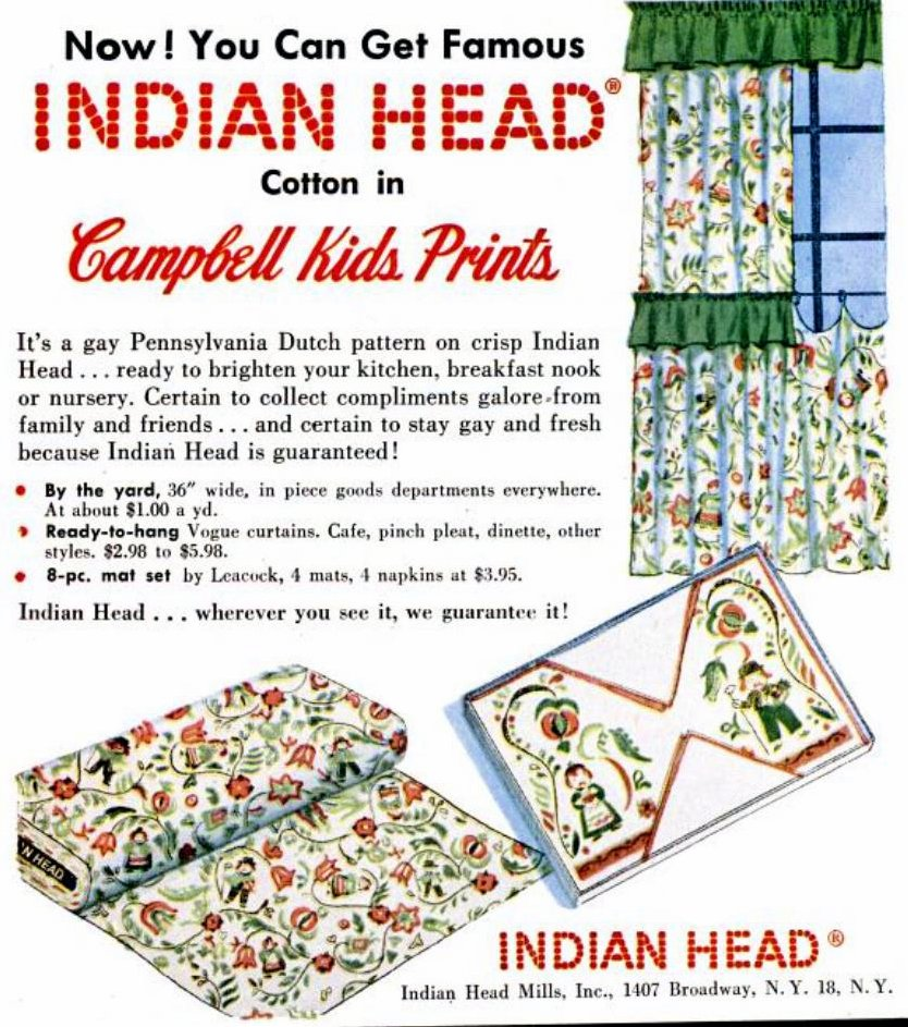 Vintage Campbell Kids 1950s Indian Head Pennsylvania Dutch fabric