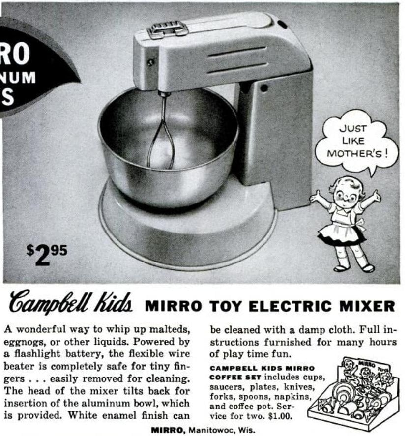 Vintage Campbell Kids 1950s Mirro toy electric mixer