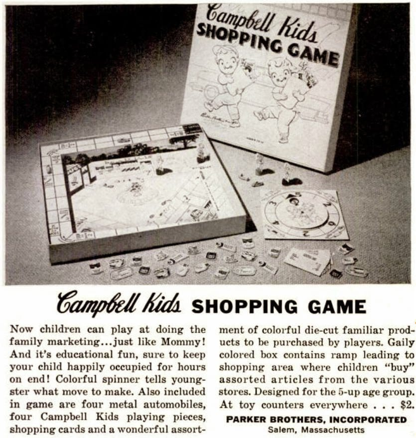 Vintage Campbell Kids 1950s Shopping board game