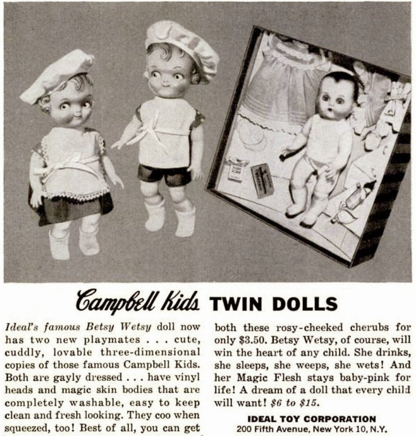 Vintage Campbell Kids 1950s Twin Dolls toys