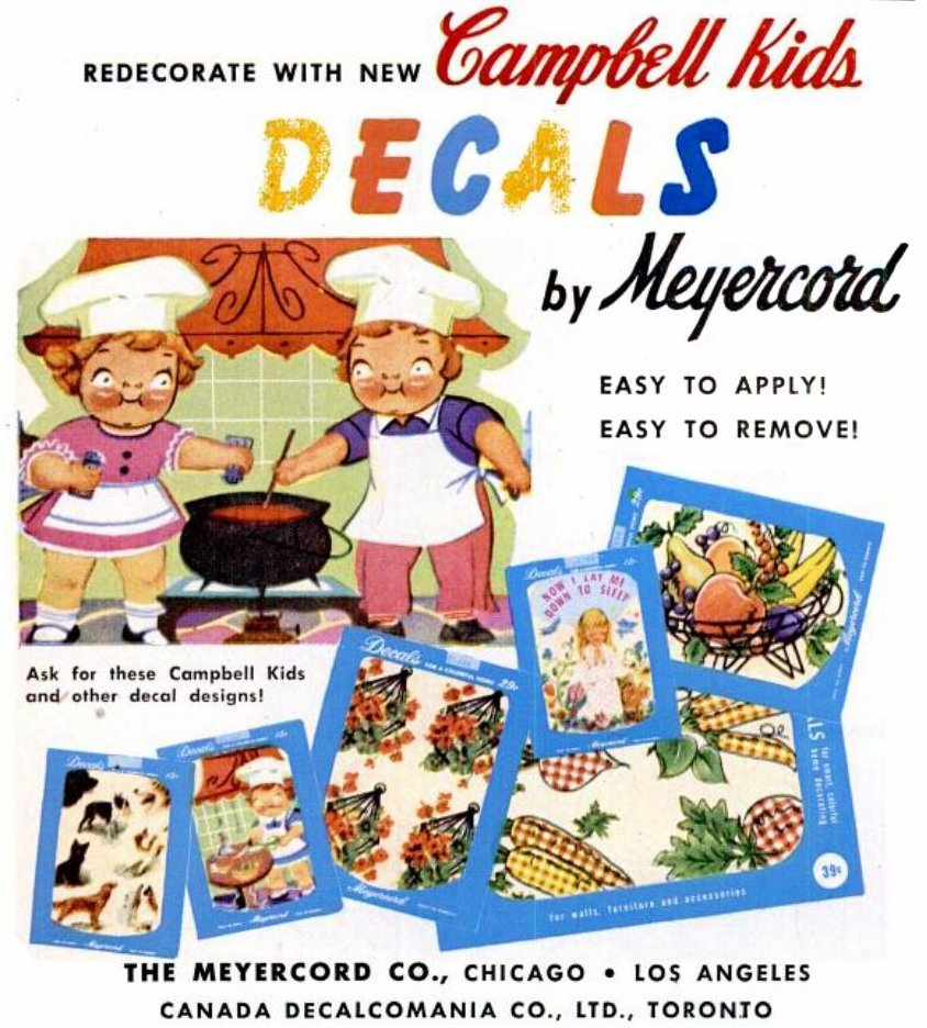 Vintage Campbell Kids 1950s decorating decals