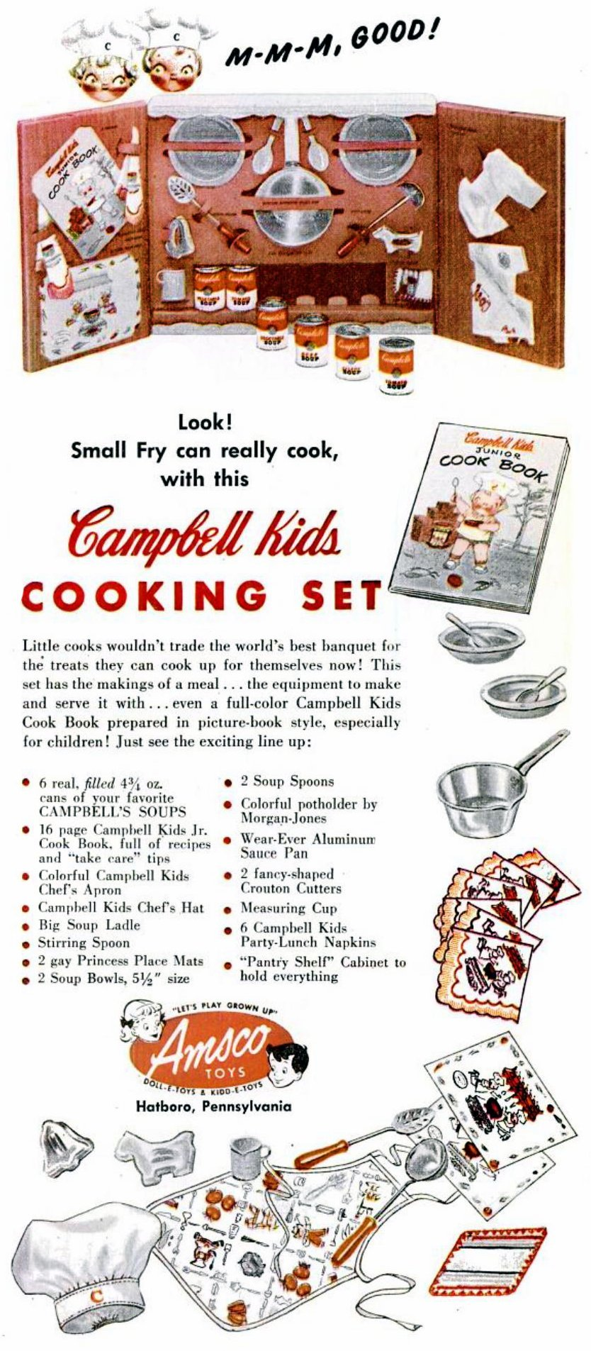 Vintage Campbell Kids cooking set for children from the 1950s