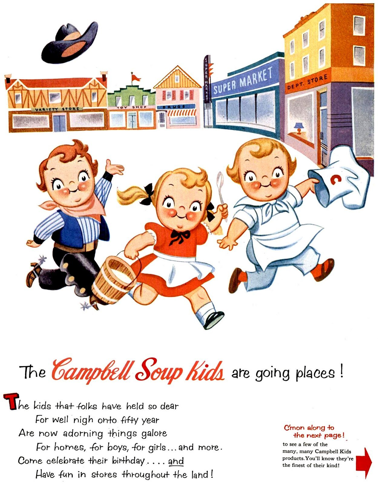 Vintage Campbell's Soup Kids going places - 1950s