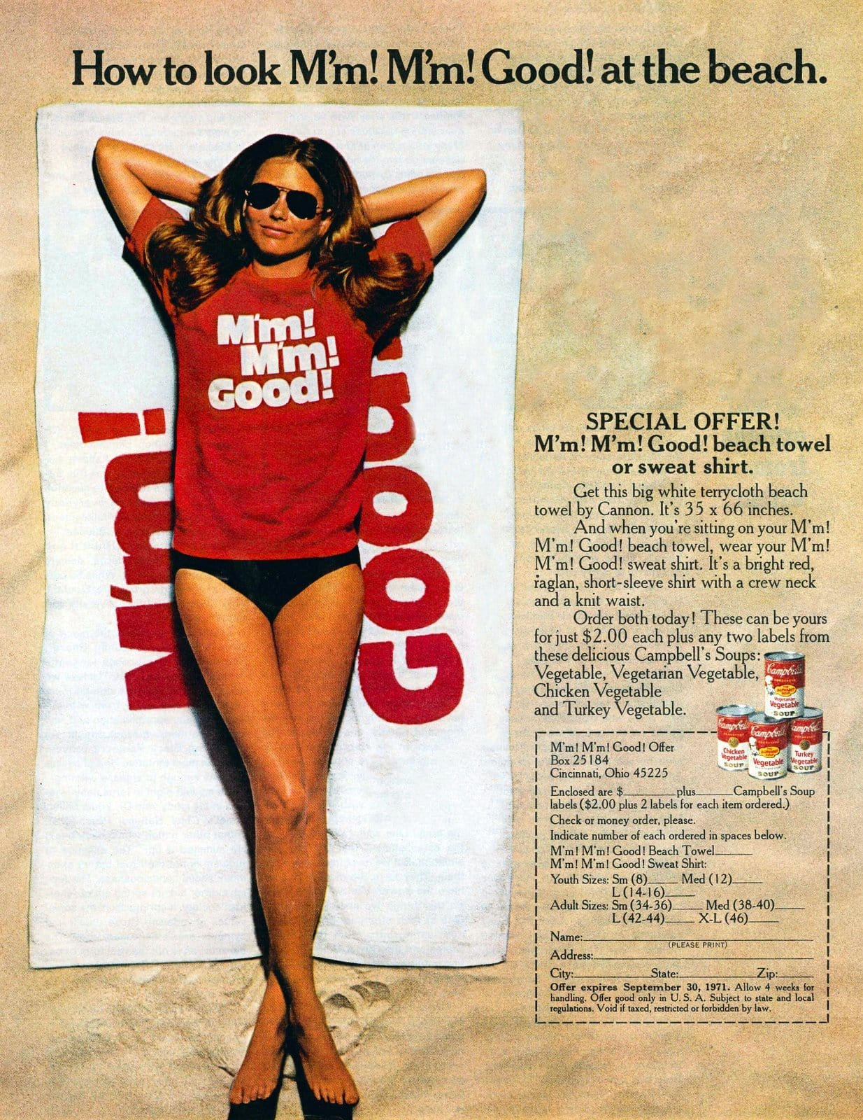Vintage Campbell's Soup beach towel or T-shirt offer (1971)