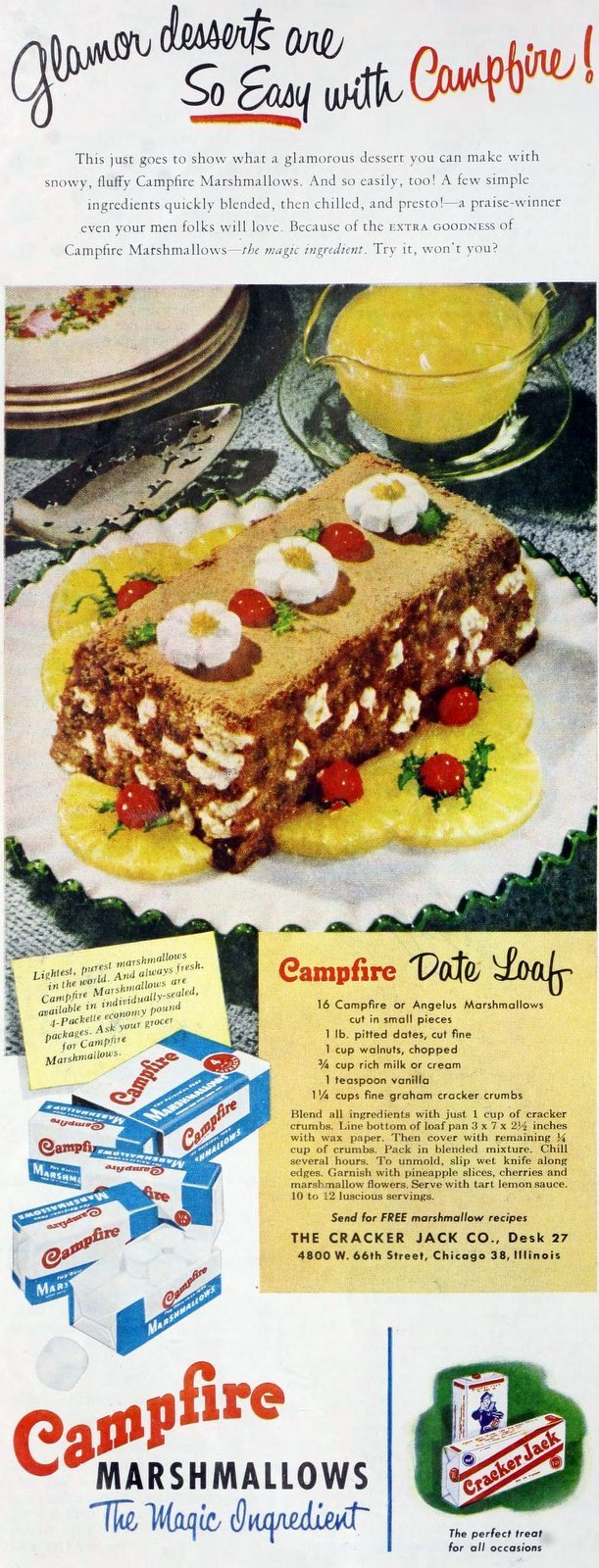Vintage Campfire marshmallow date loaf recipe from the 1950s