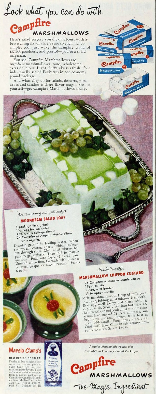 Vintage Campfire marshmallow moonbeam salad loaf recipe from the 1950s