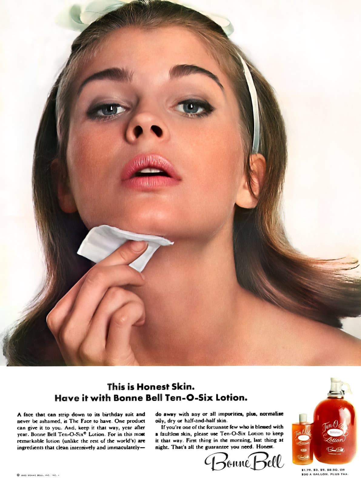 Young Candice Bergen for Bonne Bell Ten-O-Six lotion (1965)