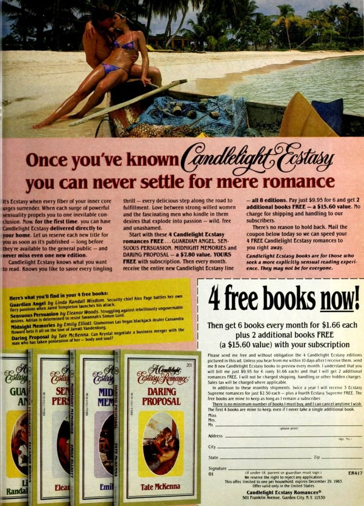 Vintage Candlelight Esctasy book club 1983
